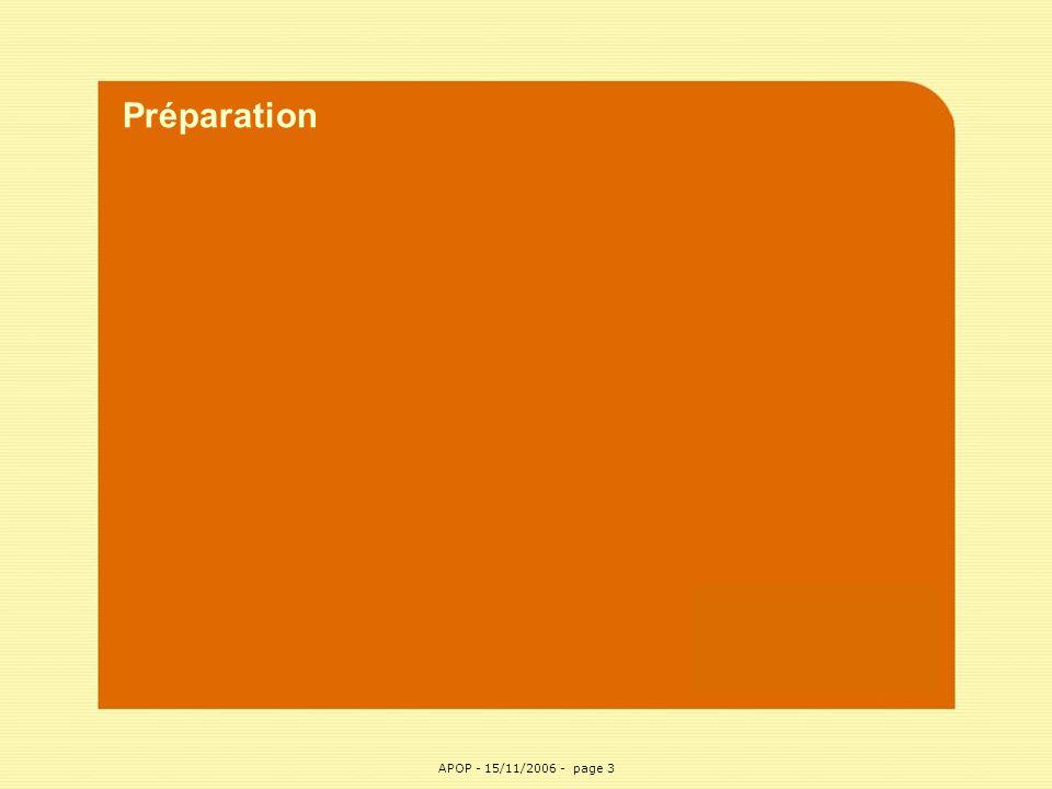 Préparation APOP APOP - 15/11/2006 - page 3