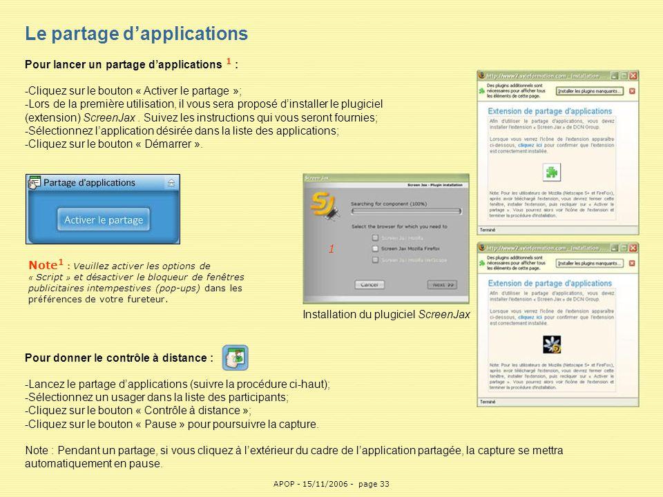 Le partage d'applications Pour lancer un partage d'applications 1 :