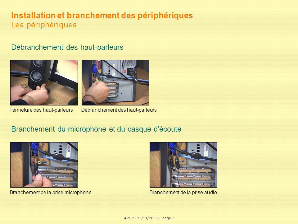 Installation et branchement des périphériques