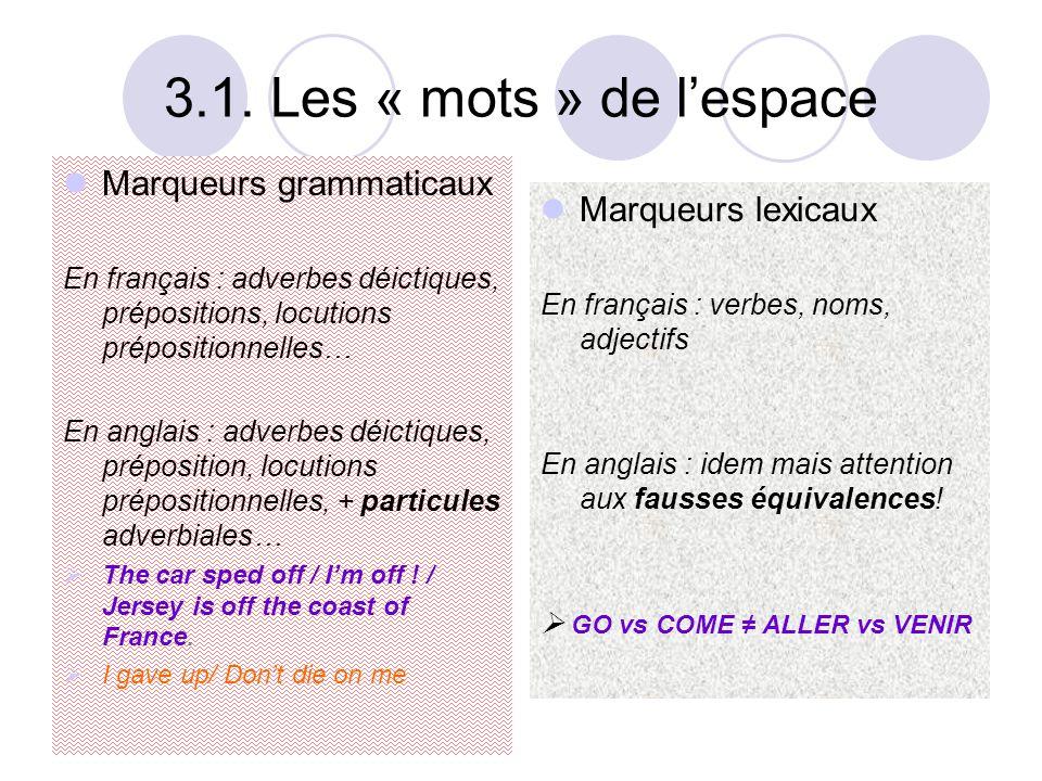 3.1. Les « mots » de l'espace Marqueurs grammaticaux