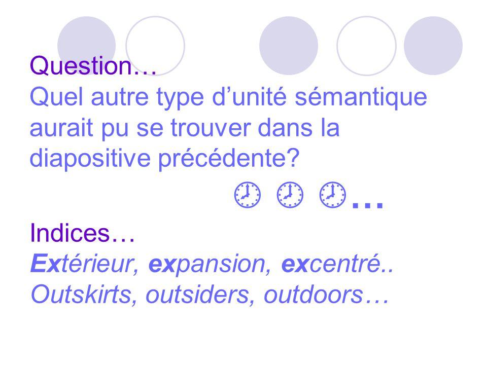 Question… Quel autre type d'unité sémantique aurait pu se trouver dans la diapositive précédente.