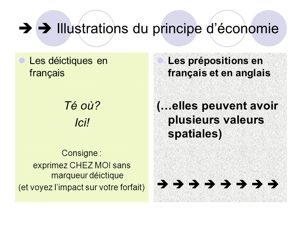   Illustrations du principe d'économie