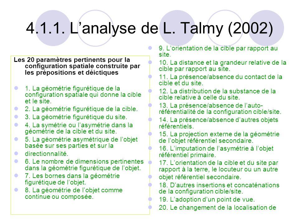 4.1.1. L'analyse de L. Talmy (2002) 9. L'orientation de la cible par rapport au site.
