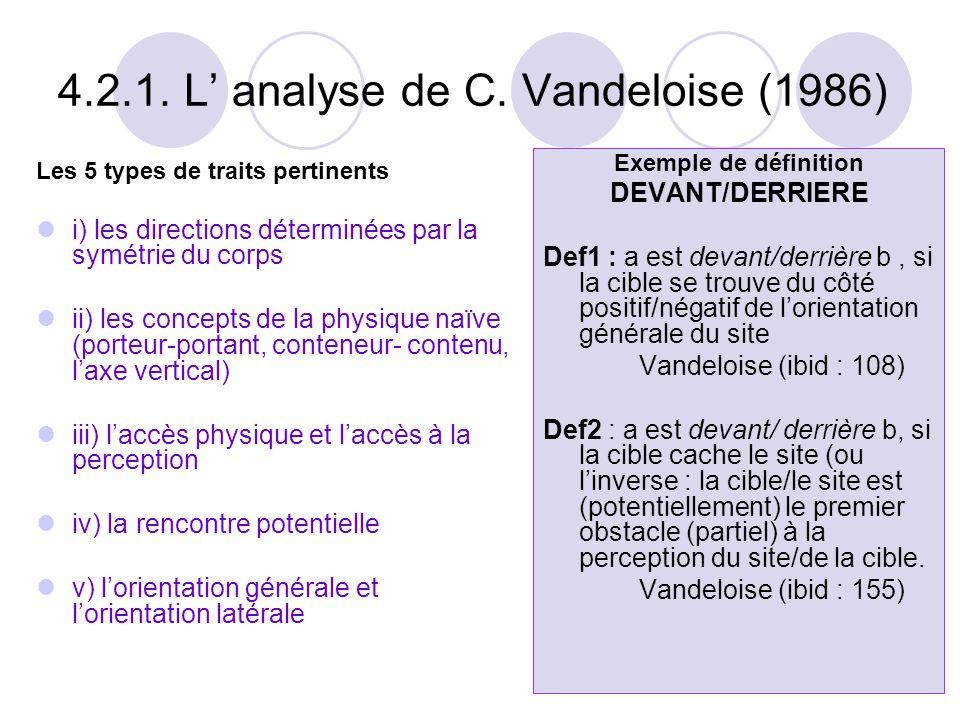 4.2.1. L' analyse de C. Vandeloise (1986)