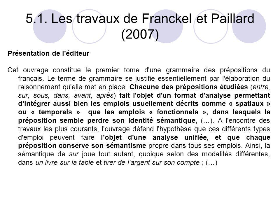 5.1. Les travaux de Franckel et Paillard (2007)