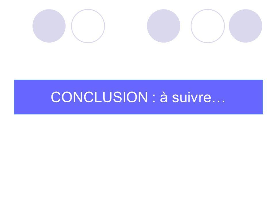CONCLUSION : à suivre…