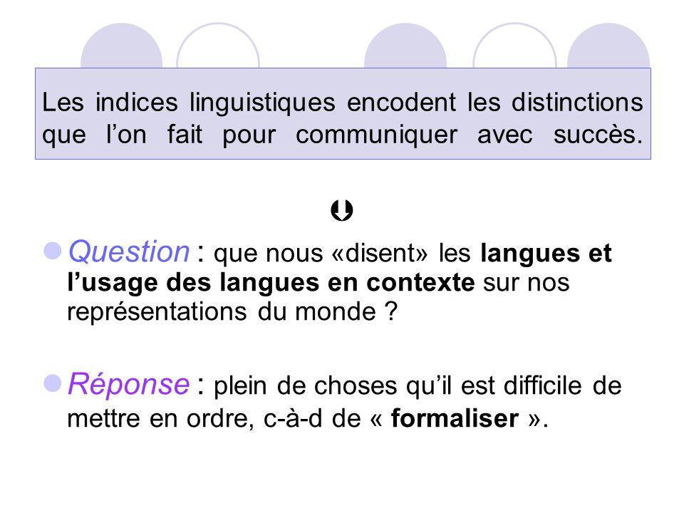 Les indices linguistiques encodent les distinctions que l'on fait pour communiquer avec succès.