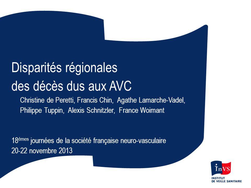 Disparités régionales des décès dus aux AVC