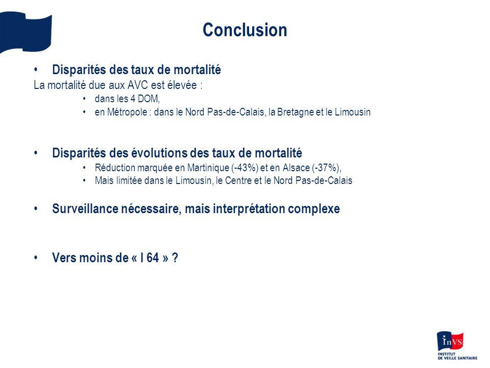 Conclusion Disparités des taux de mortalité