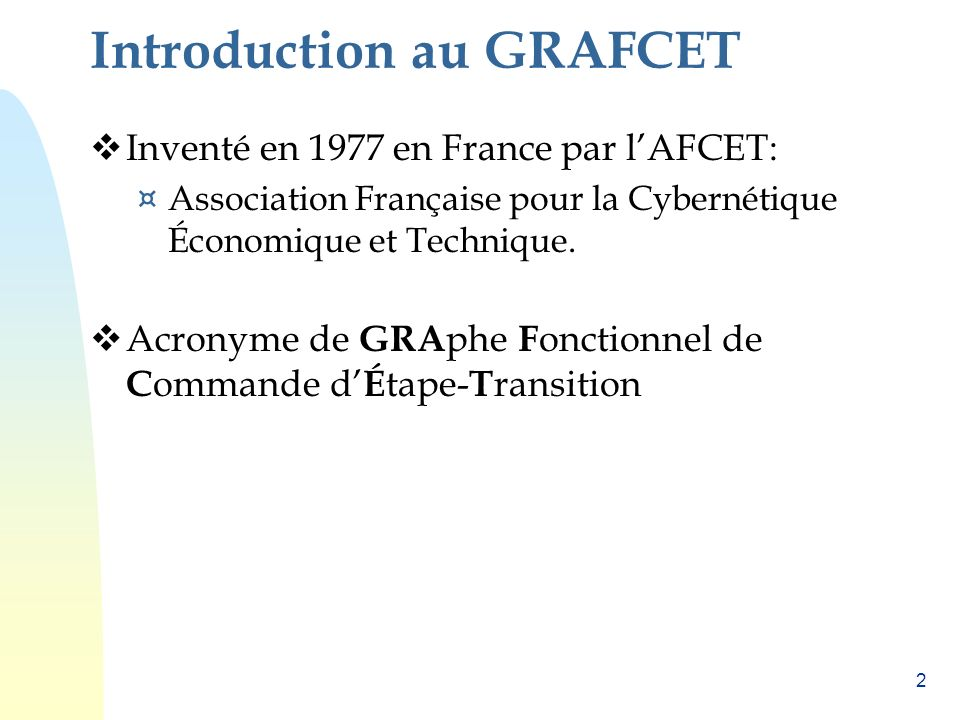 Introduction au GRAFCET