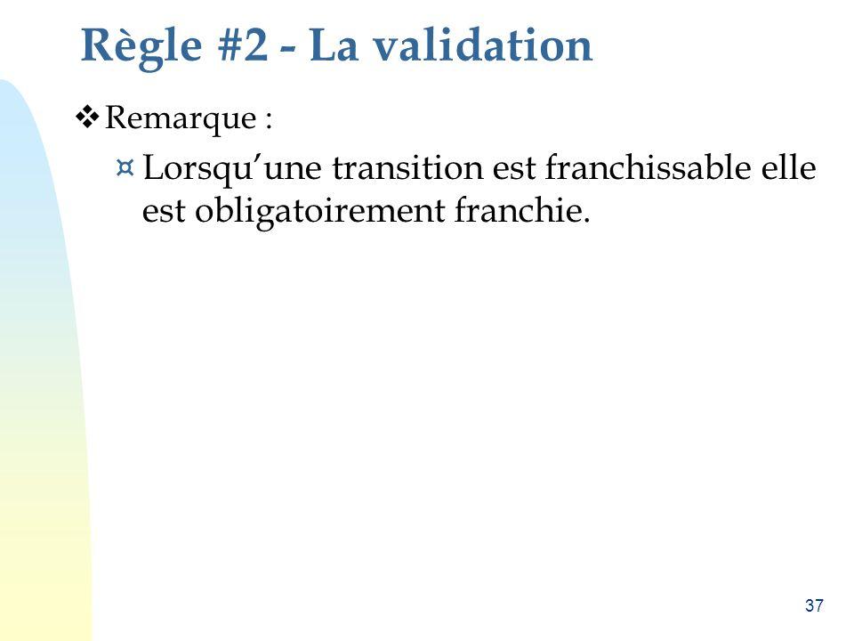 Règle #2 - La validation Remarque : Lorsqu'une transition est franchissable elle est obligatoirement franchie.