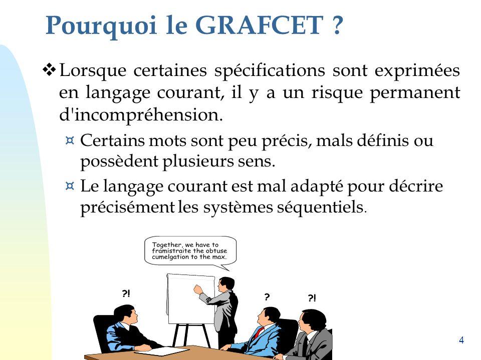 Pourquoi le GRAFCET Lorsque certaines spécifications sont exprimées en langage courant, il y a un risque permanent d incompréhension.