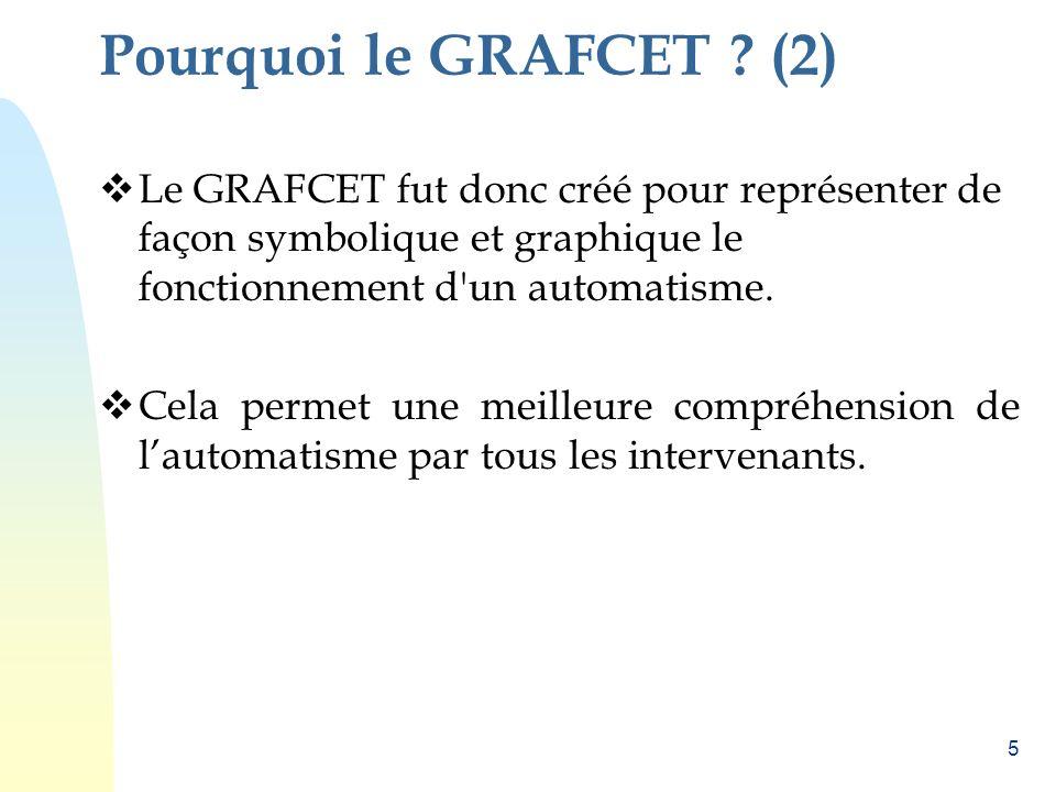 Pourquoi le GRAFCET (2) Le GRAFCET fut donc créé pour représenter de façon symbolique et graphique le fonctionnement d un automatisme.