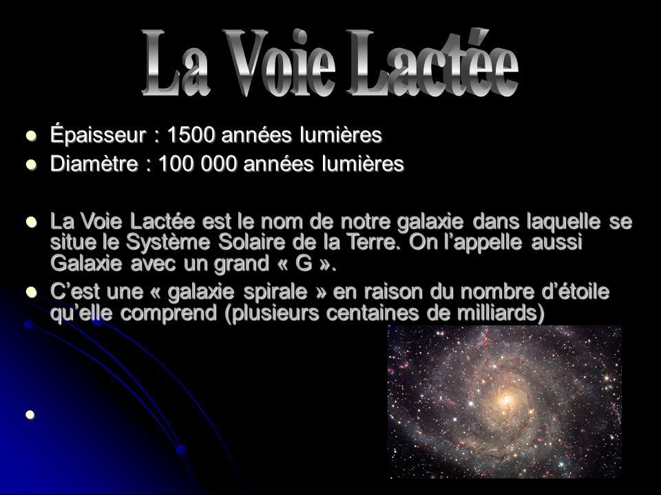 La Voie Lactée Épaisseur : 1500 années lumières