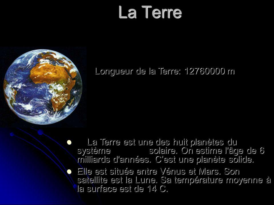 La Terre Longueur de la Terre: 12760000 m