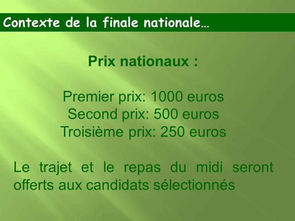 Prix nationaux : Premier prix: 1000 euros Second prix: 500 euros