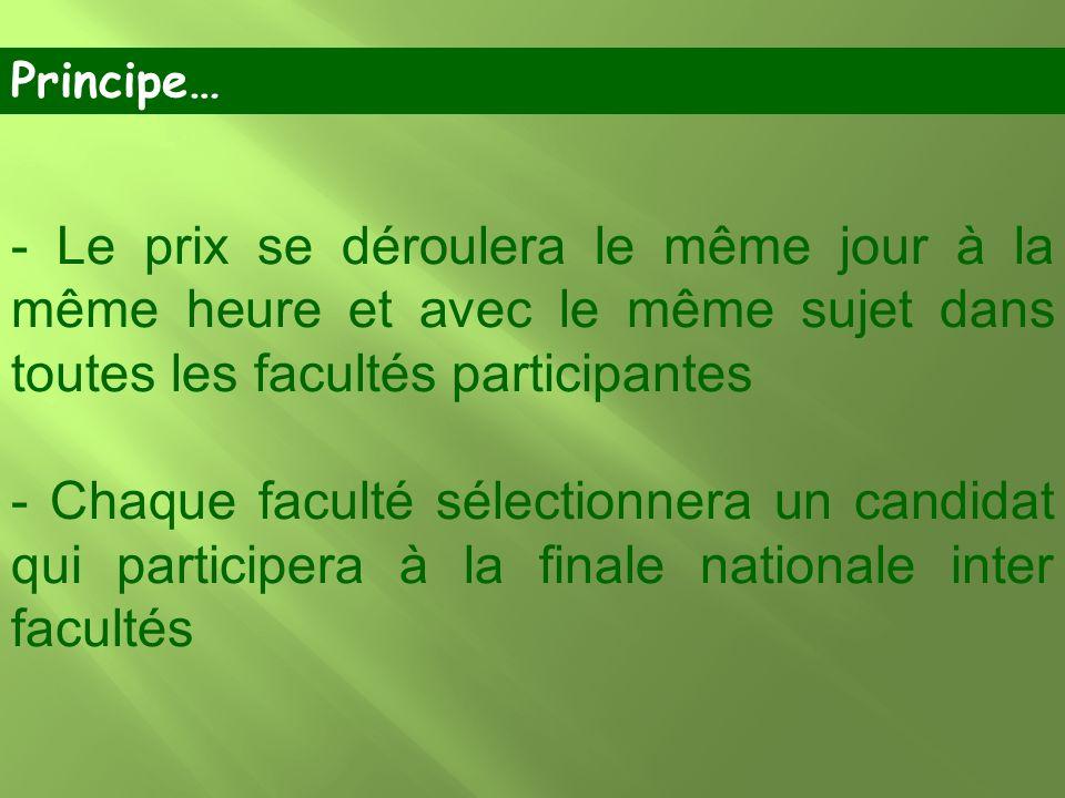 Principe… - Le prix se déroulera le même jour à la même heure et avec le même sujet dans toutes les facultés participantes.