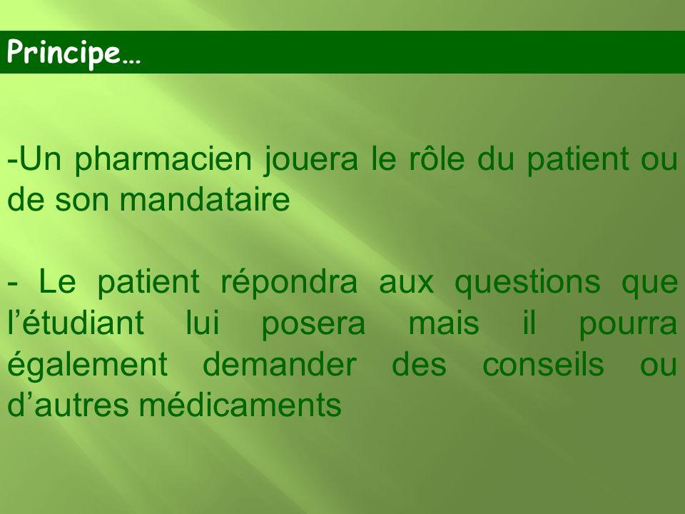 Un pharmacien jouera le rôle du patient ou de son mandataire