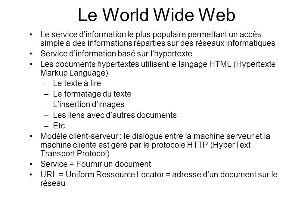 Le World Wide Web Le service d'information le plus populaire permettant un accès simple à des informations réparties sur des réseaux informatiques.