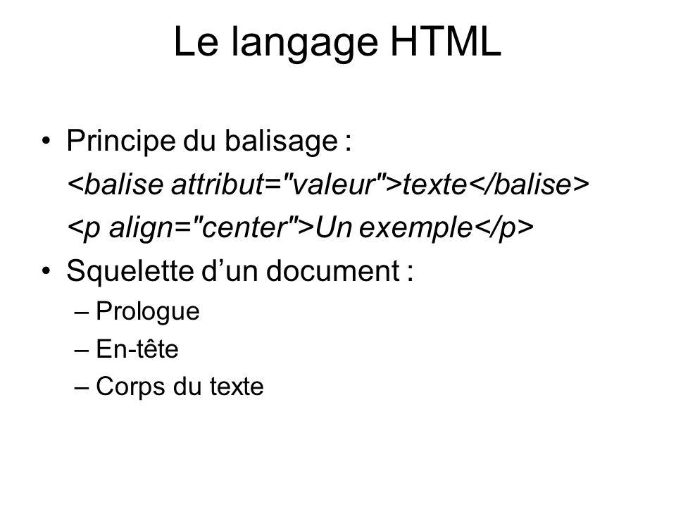 Le langage HTML Principe du balisage :