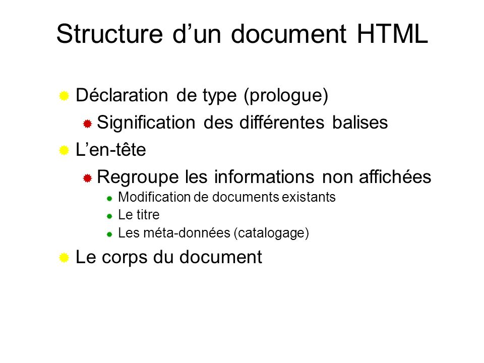Structure d'un document HTML