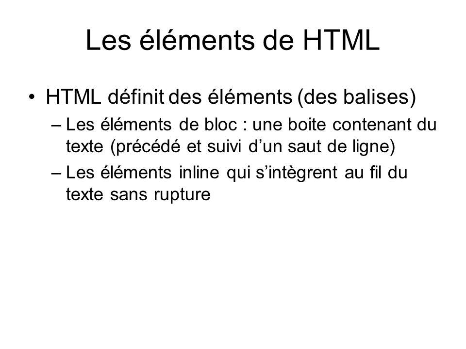 Les éléments de HTML HTML définit des éléments (des balises)