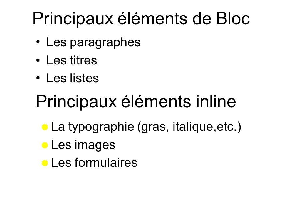 Principaux éléments de Bloc
