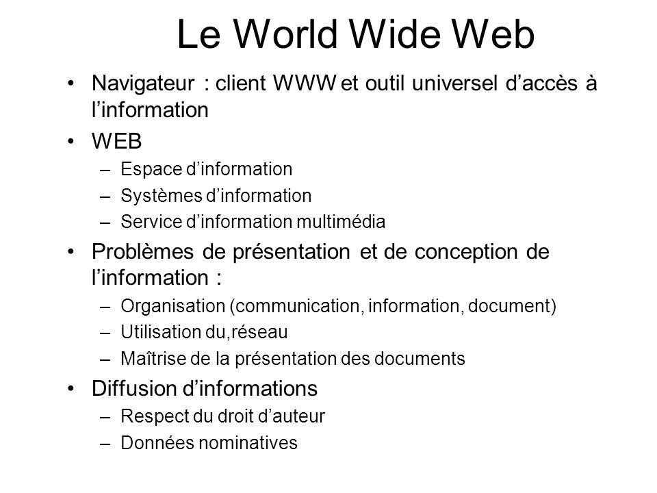 Le World Wide Web Navigateur : client WWW et outil universel d'accès à l'information. WEB. Espace d'information.