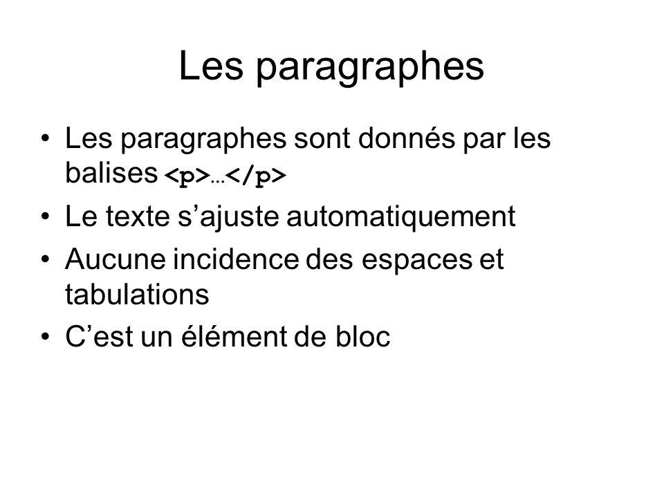 Les paragraphes Les paragraphes sont donnés par les balises <p>…</p> Le texte s'ajuste automatiquement.