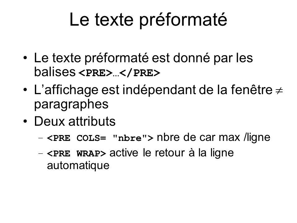 Le texte préformaté Le texte préformaté est donné par les balises <PRE>…</PRE> L'affichage est indépendant de la fenêtre  paragraphes.