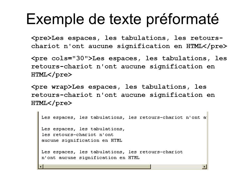 Exemple de texte préformaté