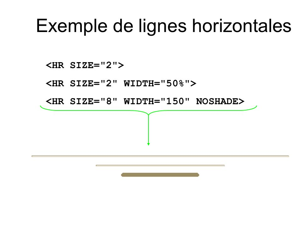 Exemple de lignes horizontales