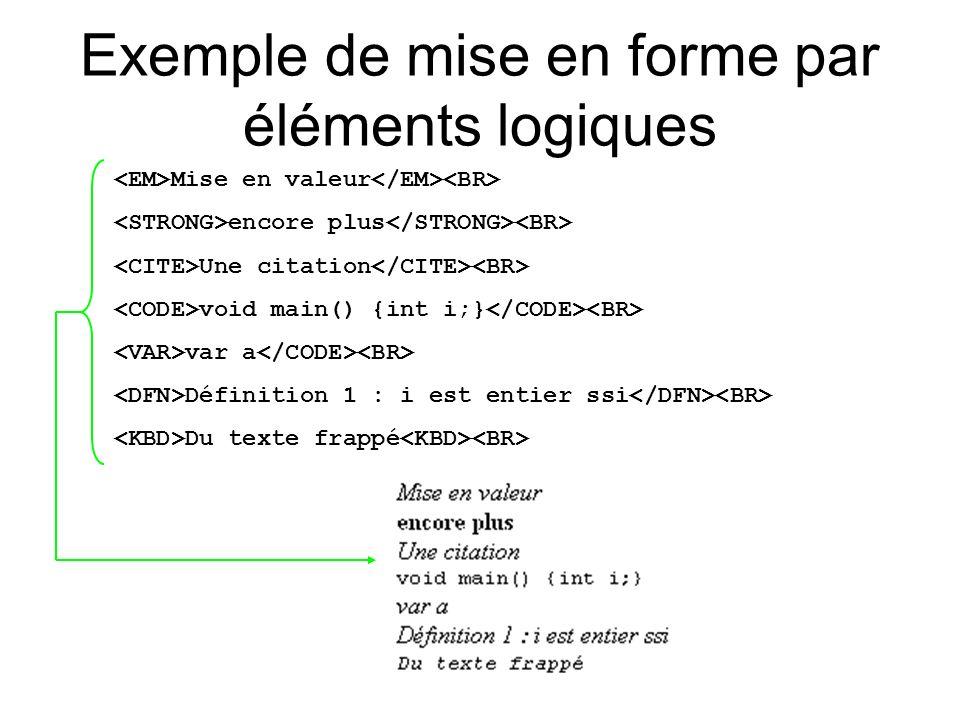 Exemple de mise en forme par éléments logiques