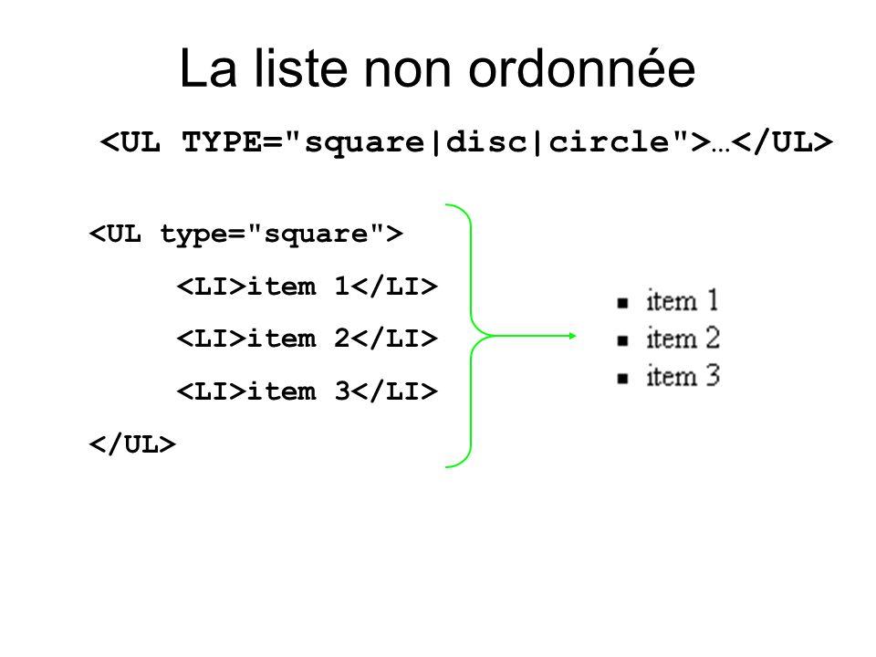 <UL TYPE= square|disc|circle >…</UL>
