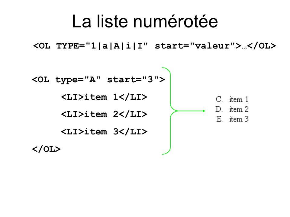 <OL TYPE= 1|a|A|i|I start= valeur >…</OL>
