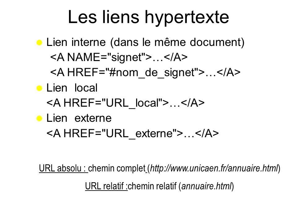 Les liens hypertexte Lien interne (dans le même document)
