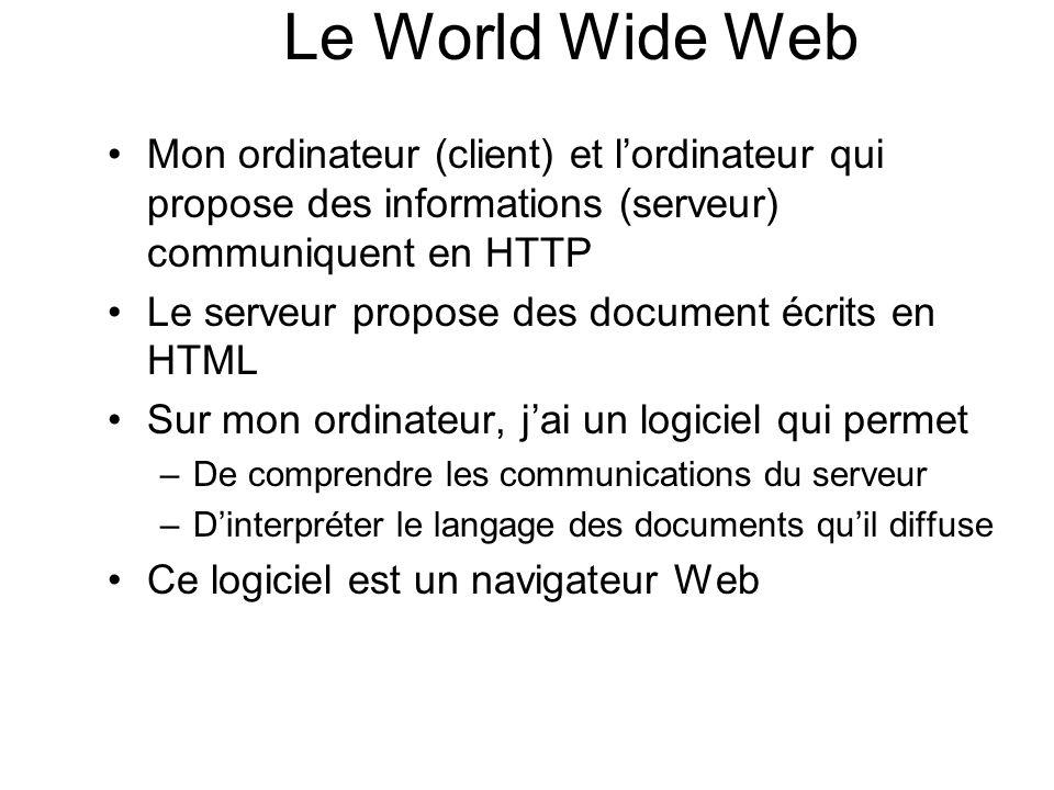 Le World Wide Web Mon ordinateur (client) et l'ordinateur qui propose des informations (serveur) communiquent en HTTP.