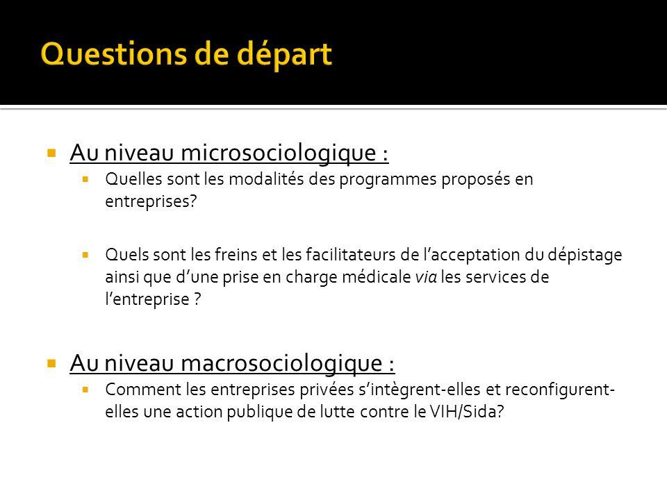 Questions de départ Au niveau microsociologique :