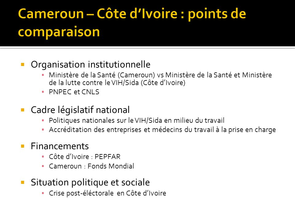 Cameroun – Côte d'Ivoire : points de comparaison