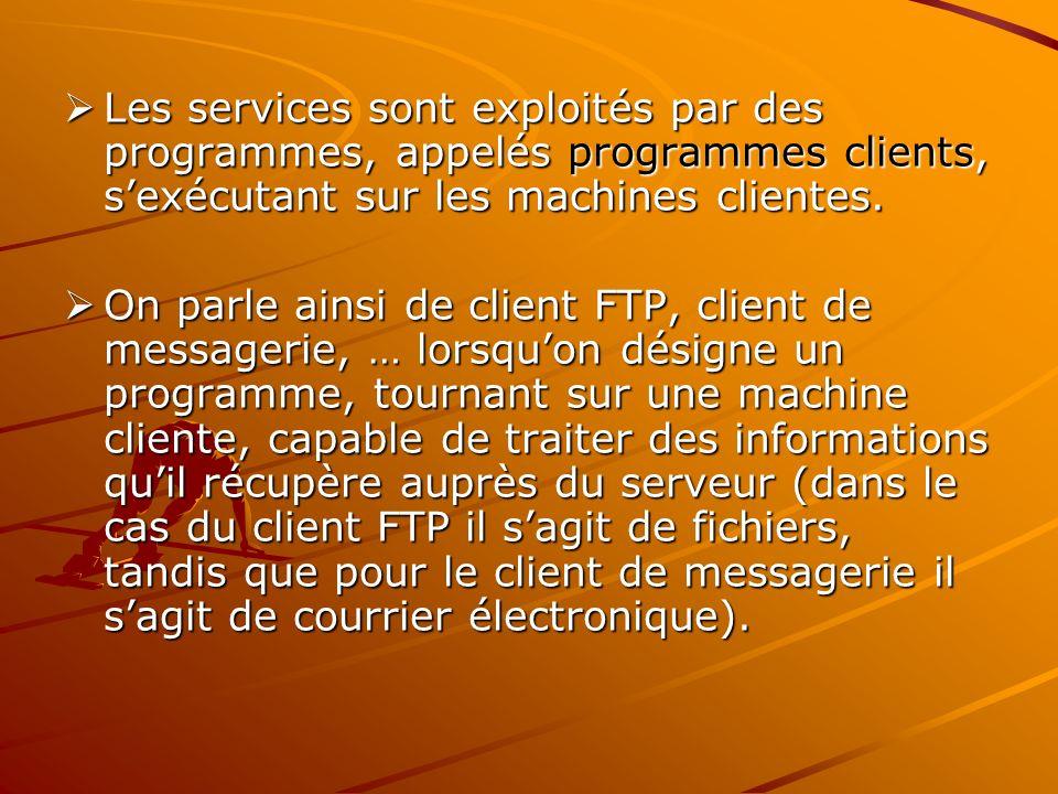 Les services sont exploités par des programmes, appelés programmes clients, s'exécutant sur les machines clientes.