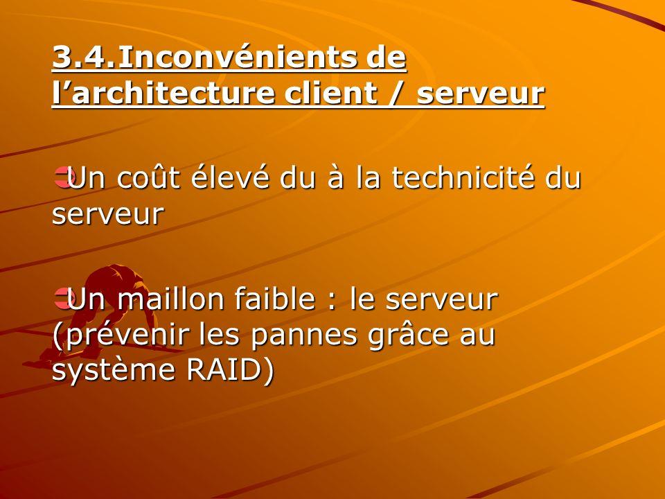 3.4. Inconvénients de l'architecture client / serveur
