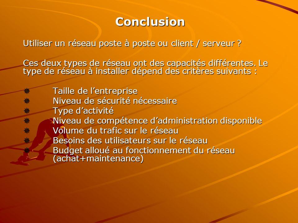Conclusion Utiliser un réseau poste à poste ou client / serveur