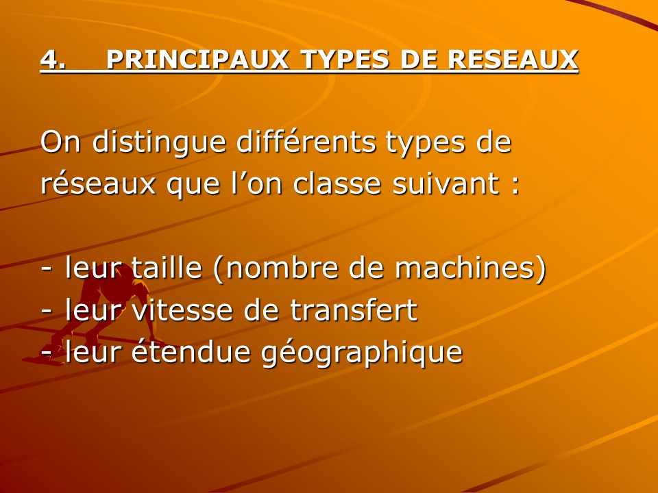 On distingue différents types de réseaux que l'on classe suivant :