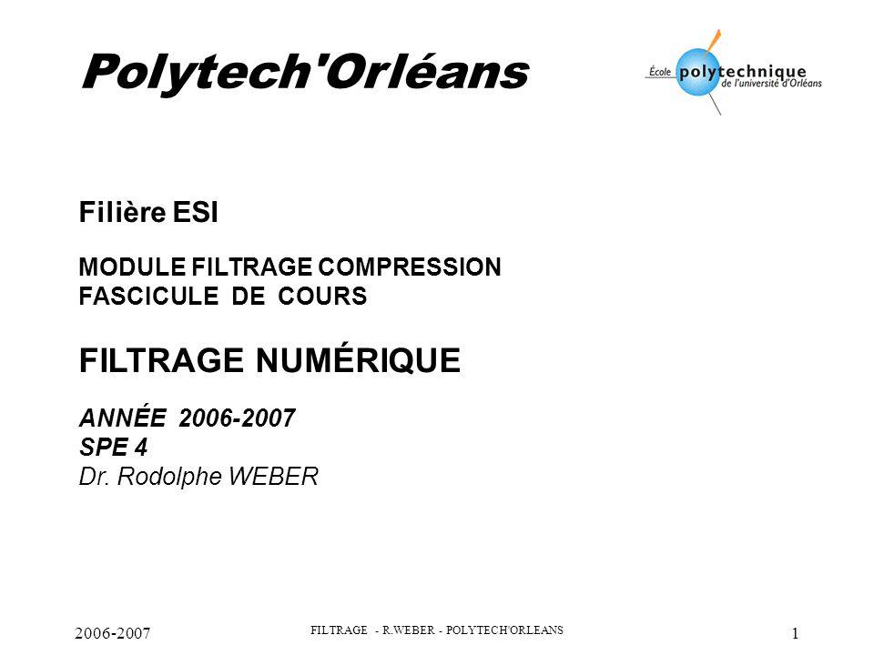 FILTRAGE - R.WEBER - POLYTECH ORLEANS