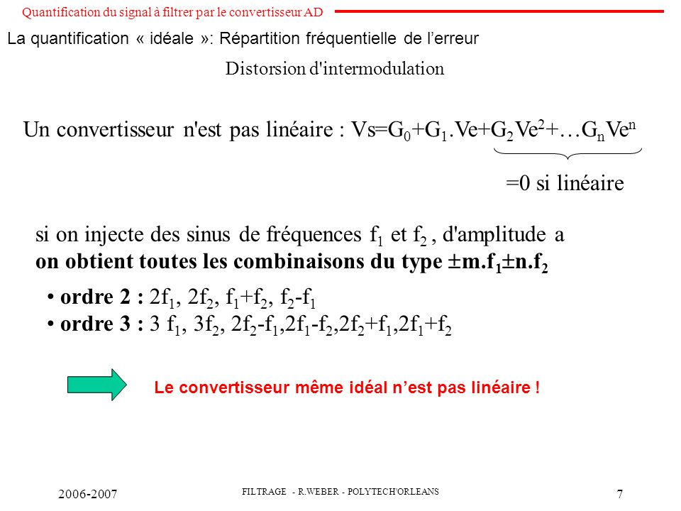 Un convertisseur n est pas linéaire : Vs=G0+G1.Ve+G2Ve2+…GnVen