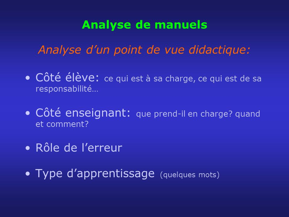 Analyse d'un point de vue didactique: