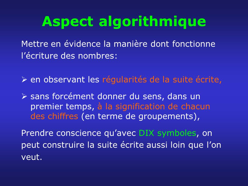 Aspect algorithmique Mettre en évidence la manière dont fonctionne