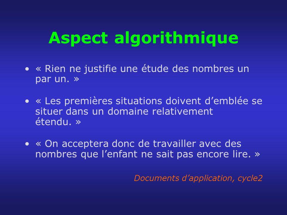 Aspect algorithmique « Rien ne justifie une étude des nombres un par un. »