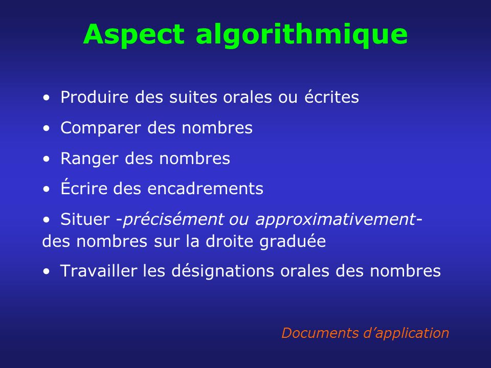 Aspect algorithmique Produire des suites orales ou écrites