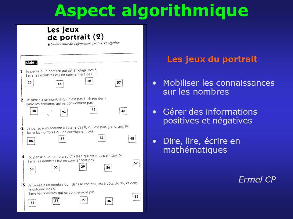 Aspect algorithmique Les jeux du portrait: